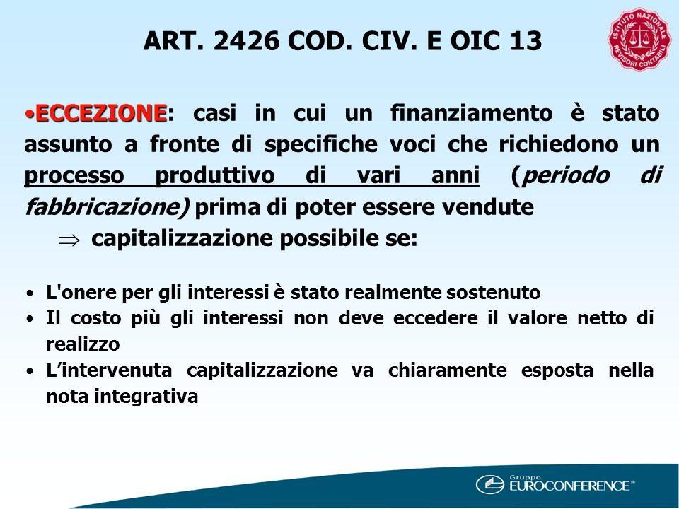 ART. 2426 COD. CIV. E OIC 13