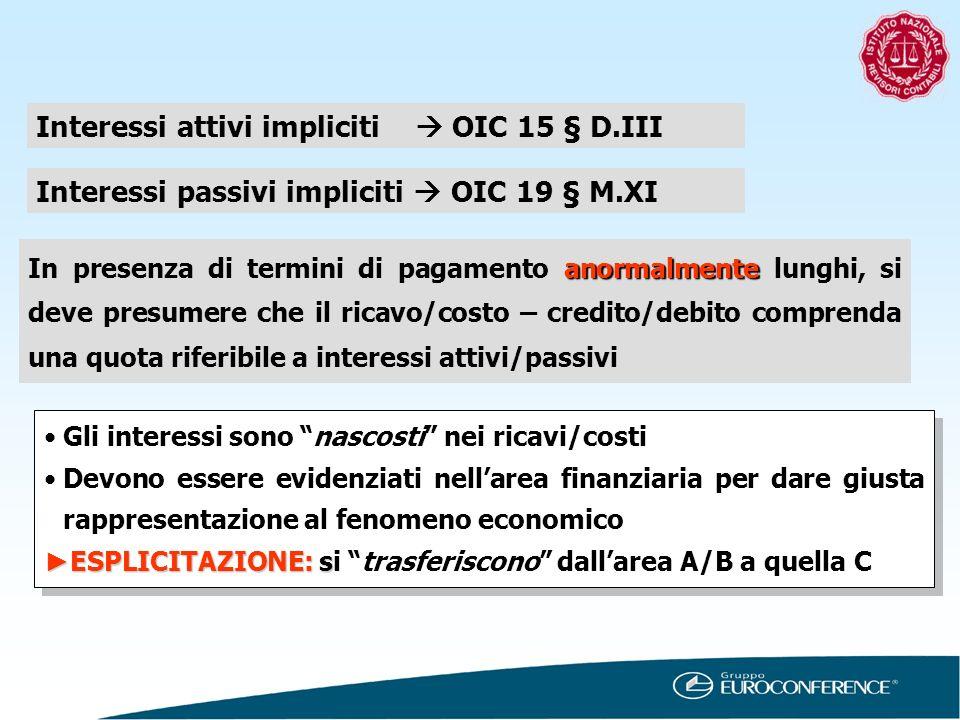 Interessi attivi impliciti  OIC 15 § D.III