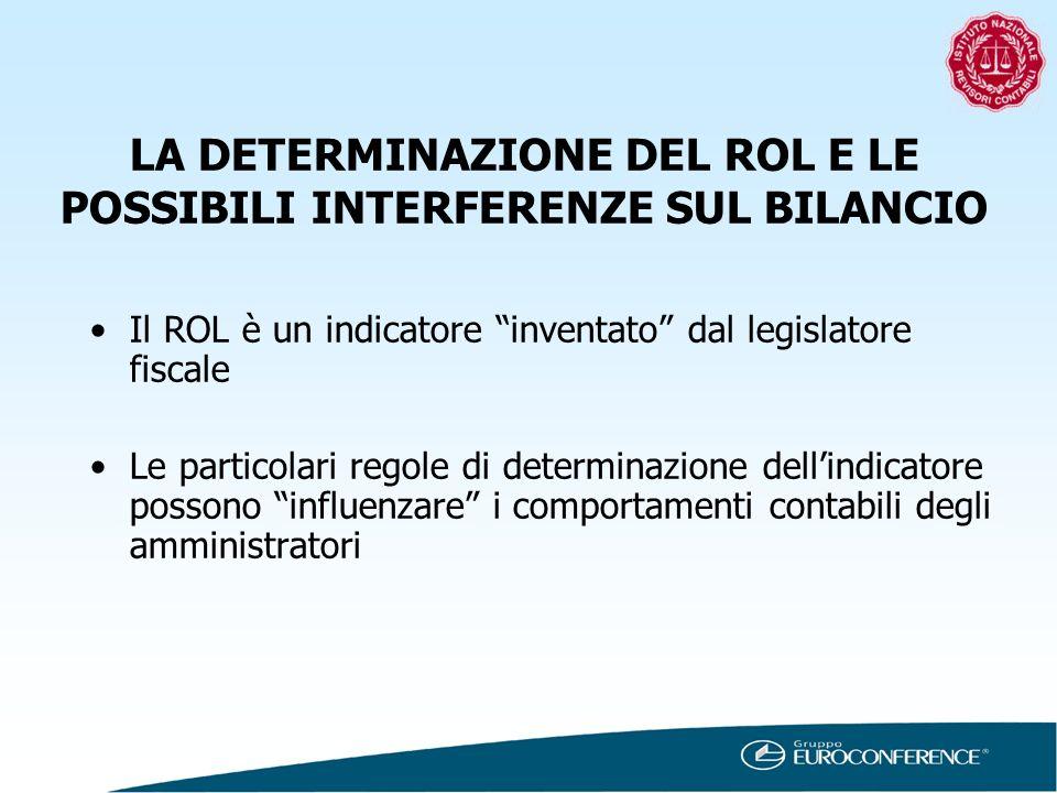 LA DETERMINAZIONE DEL ROL E LE POSSIBILI INTERFERENZE SUL BILANCIO