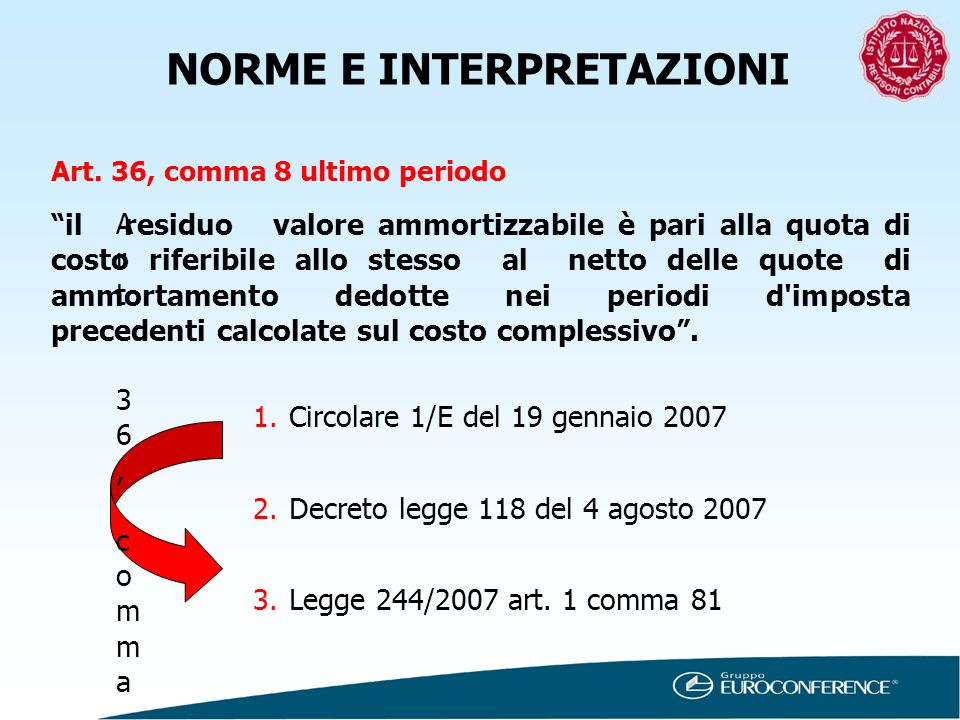 NORME E INTERPRETAZIONI Art. 36, comma 8 ultimo periodo