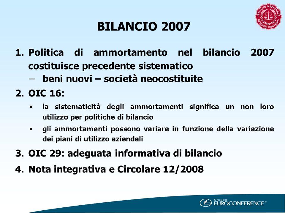 BILANCIO 2007 Politica di ammortamento nel bilancio 2007 costituisce precedente sistematico. beni nuovi – società neocostituite.