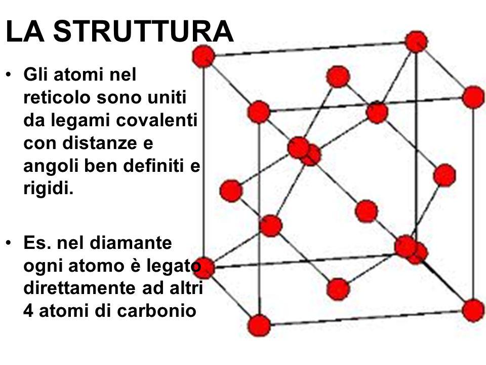 LA STRUTTURA Gli atomi nel reticolo sono uniti da legami covalenti con distanze e angoli ben definiti e rigidi.