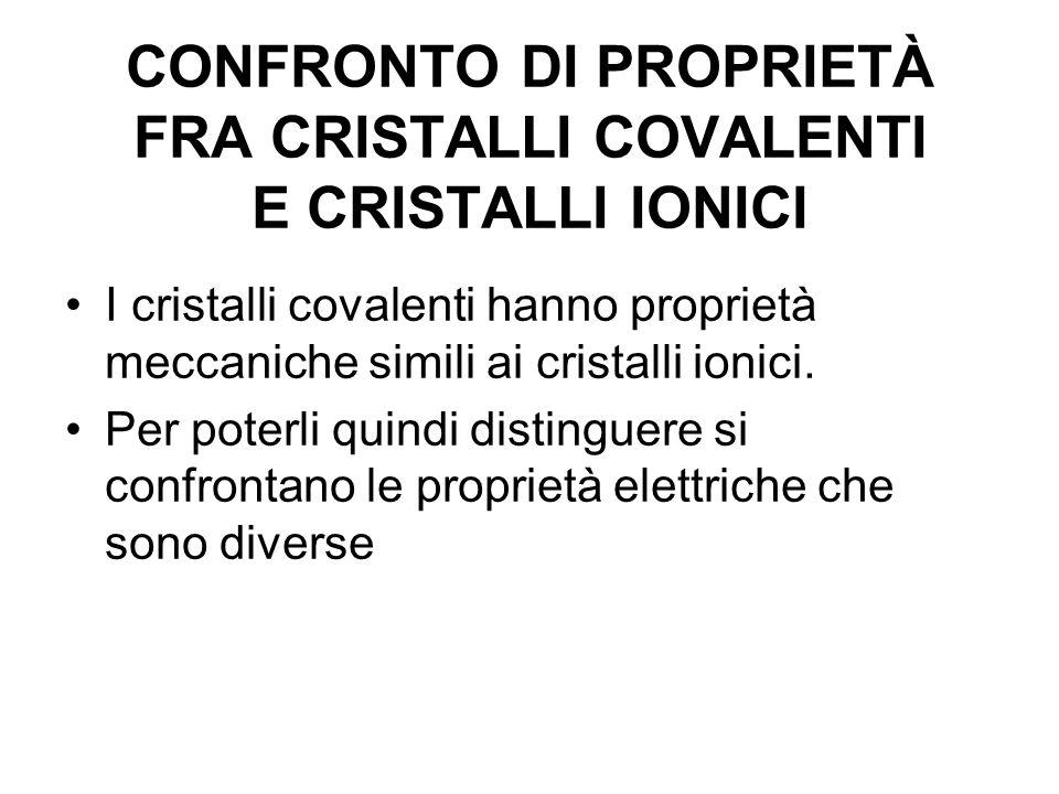CONFRONTO DI PROPRIETÀ FRA CRISTALLI COVALENTI E CRISTALLI IONICI