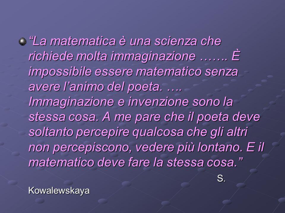 La matematica è una scienza che richiede molta immaginazione ……