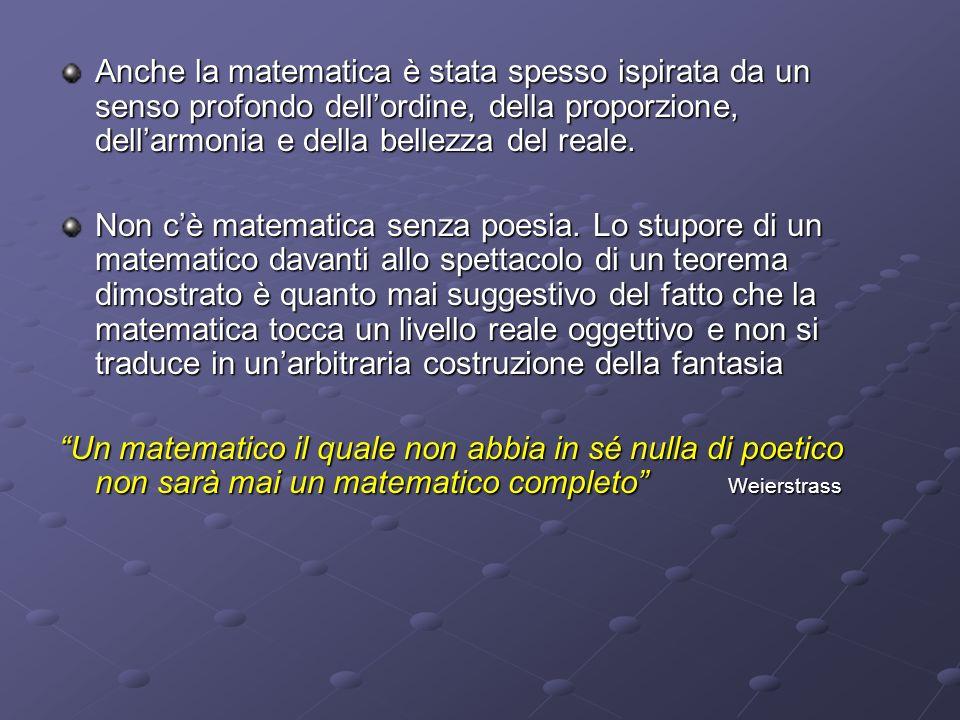 Anche la matematica è stata spesso ispirata da un senso profondo dell'ordine, della proporzione, dell'armonia e della bellezza del reale.