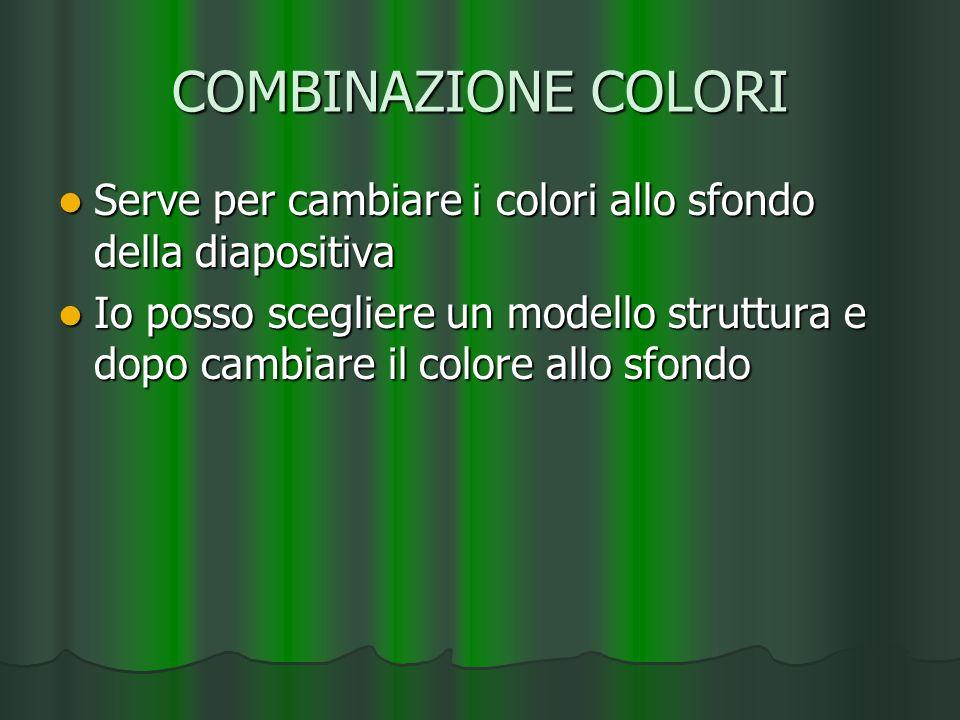 COMBINAZIONE COLORIServe per cambiare i colori allo sfondo della diapositiva.