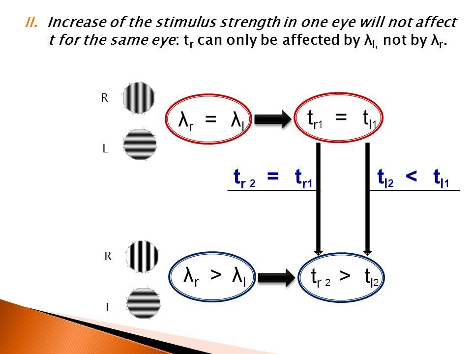 tr1 = tl1 λr = λl tr 2 = tr1 tl2 < tl1 λr > λl tr 2 > tl2