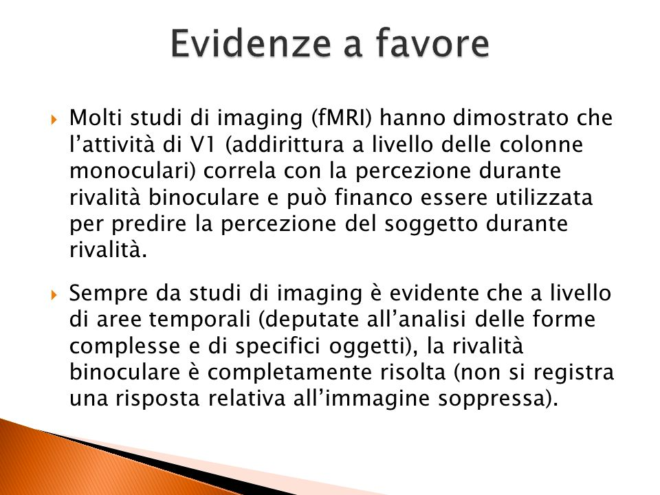 Evidenze a favore