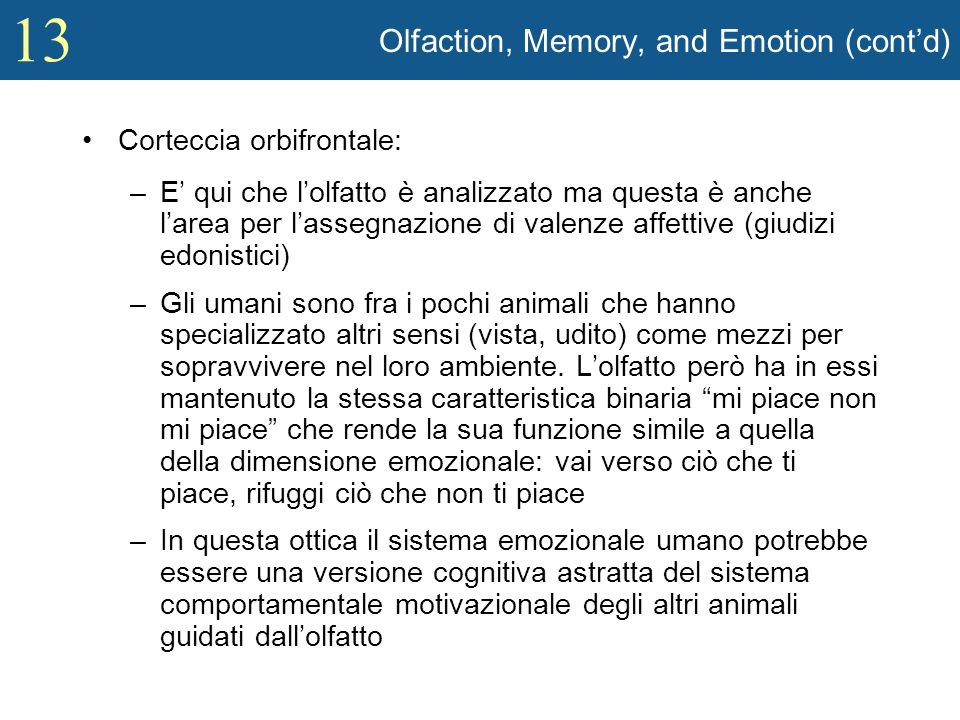 Olfaction, Memory, and Emotion (cont'd)