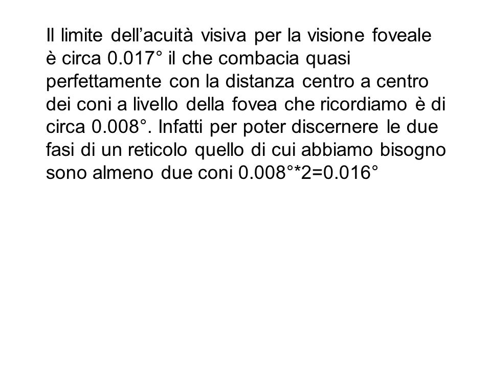 Il limite dell'acuità visiva per la visione foveale è circa 0