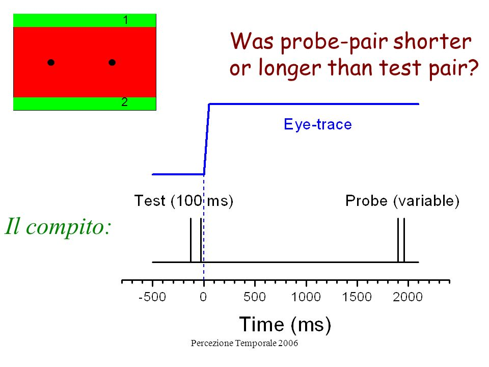Il compito: Was probe-pair shorter or longer than test pair 1 2