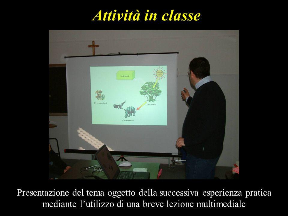 Attività in classe Presentazione del tema oggetto della successiva esperienza pratica mediante l'utilizzo di una breve lezione multimediale.