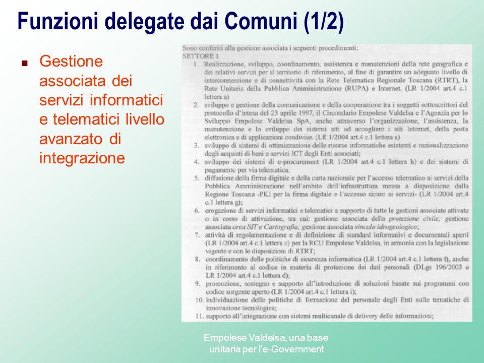 Funzioni delegate dai Comuni (1/2)