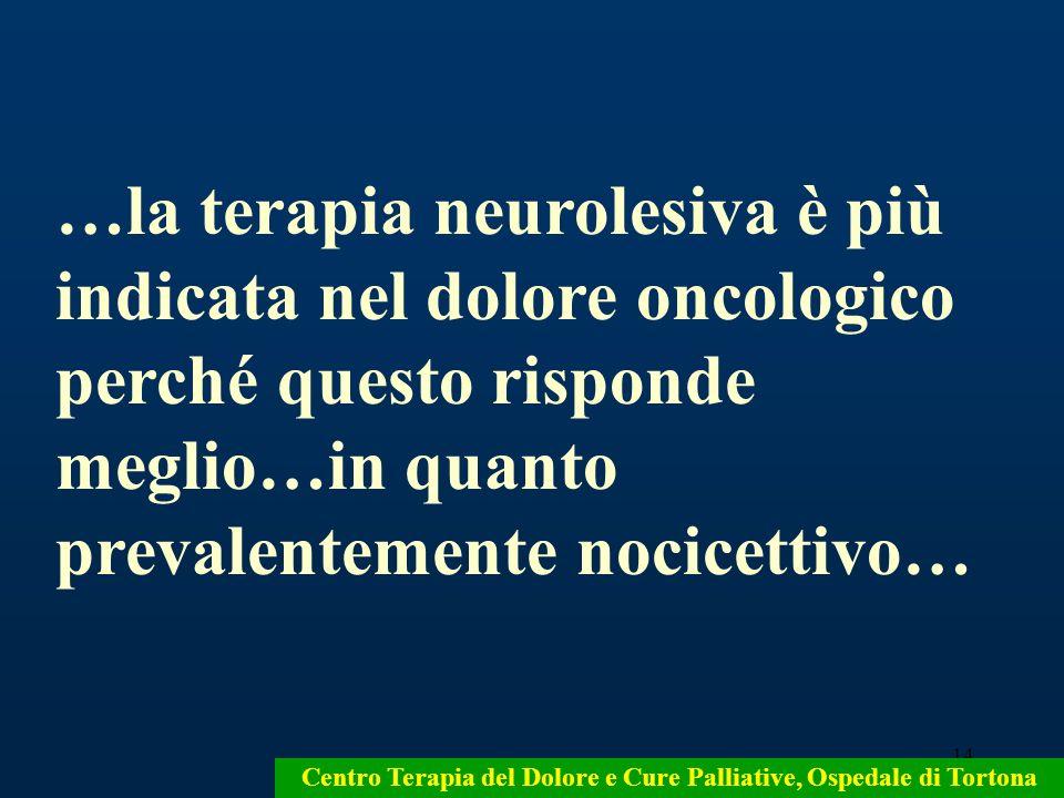…la terapia neurolesiva è più indicata nel dolore oncologico perché questo risponde meglio…in quanto prevalentemente nocicettivo…