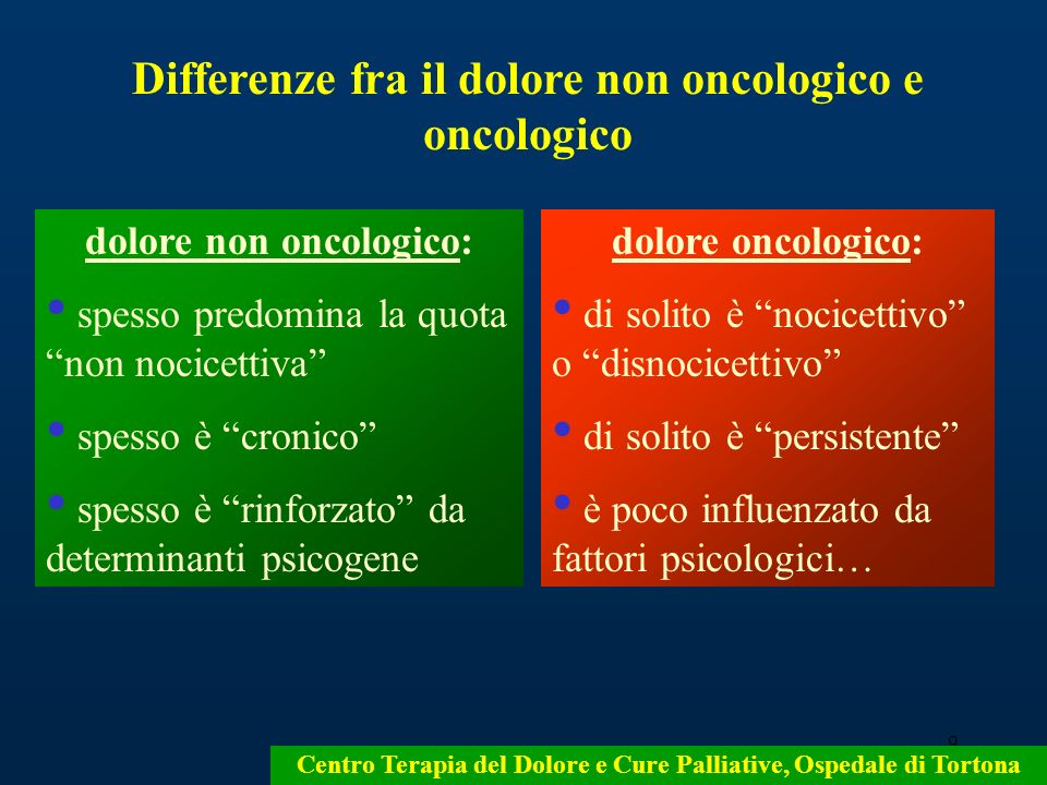 Differenze fra il dolore non oncologico e oncologico