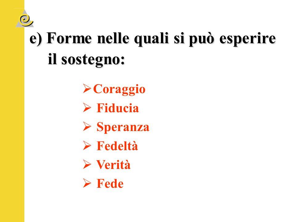 e) Forme nelle quali si può esperire il sostegno: