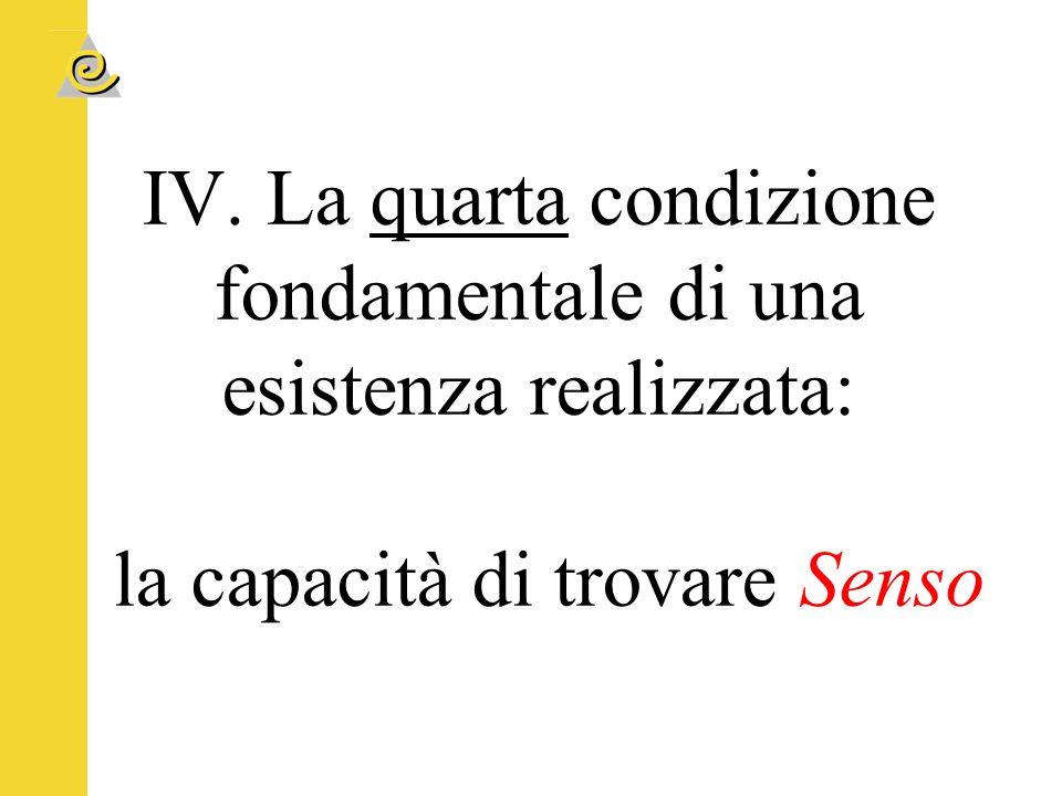 IV. La quarta condizione fondamentale di una esistenza realizzata: la capacità di trovare Senso