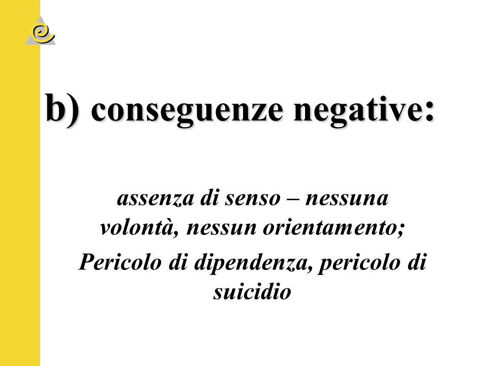 b) conseguenze negative: