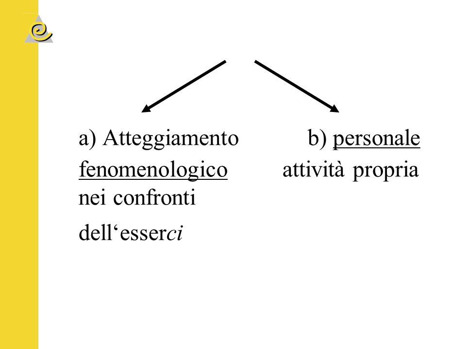 a) Atteggiamento b) personale fenomenologico attività propria nei confronti dell'esserci