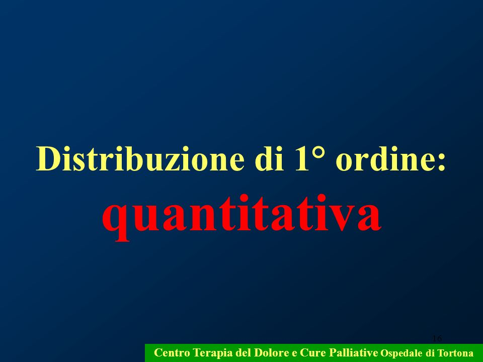 Distribuzione di 1° ordine: quantitativa