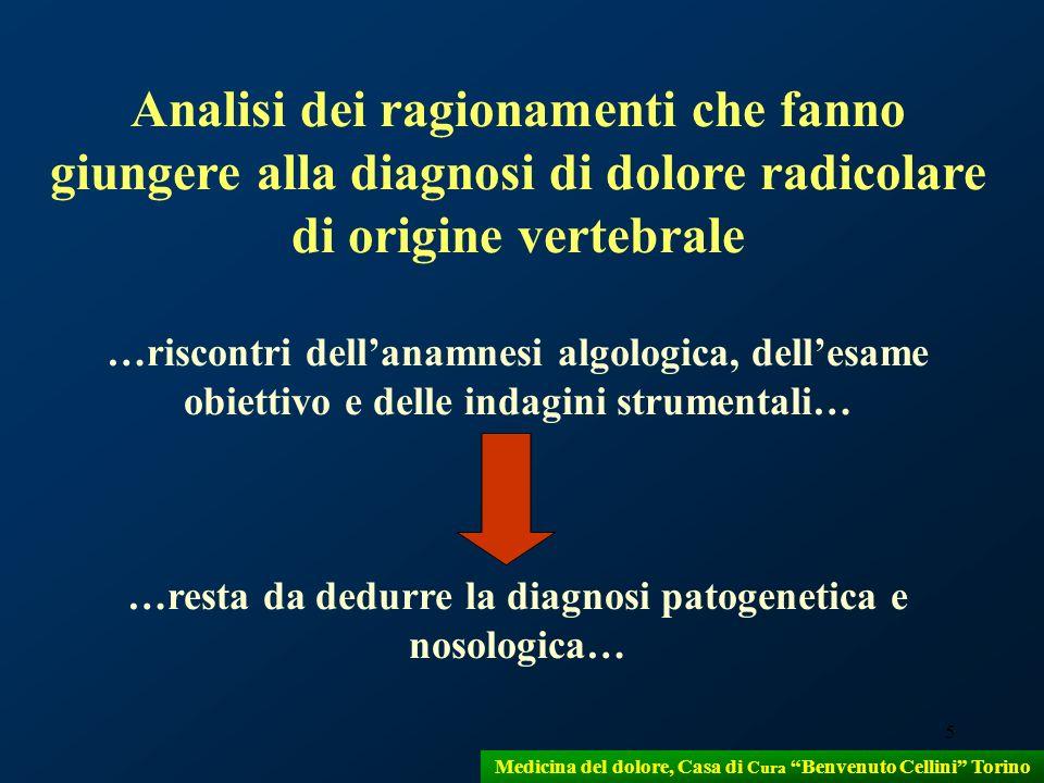 Analisi dei ragionamenti che fanno giungere alla diagnosi di dolore radicolare di origine vertebrale
