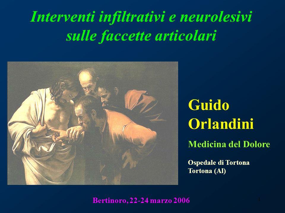 Interventi infiltrativi e neurolesivi sulle faccette articolari