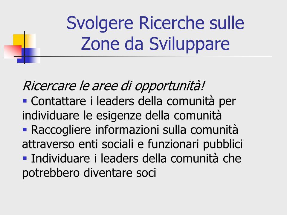 Svolgere Ricerche sulle Zone da Sviluppare