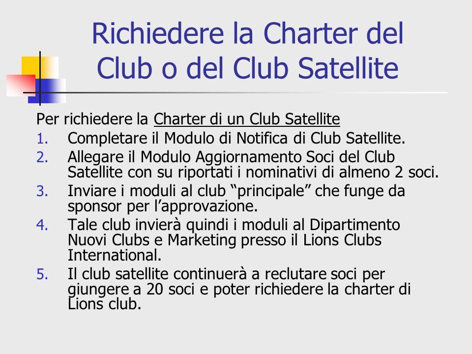 Richiedere la Charter del Club o del Club Satellite