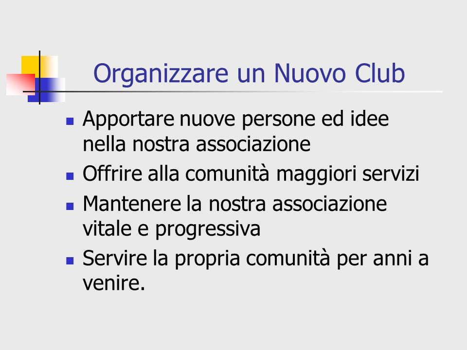 Organizzare un Nuovo Club