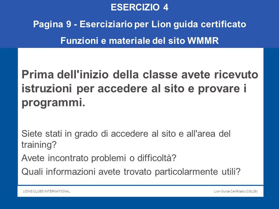 ESERCIZIO 4 Pagina 9 - Eserciziario per Lion guida certificato. Funzioni e materiale del sito WMMR.