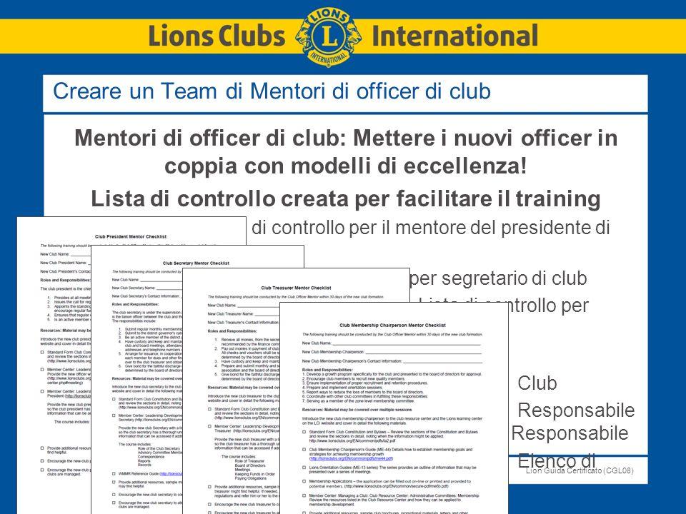 Creare un Team di Mentori di officer di club
