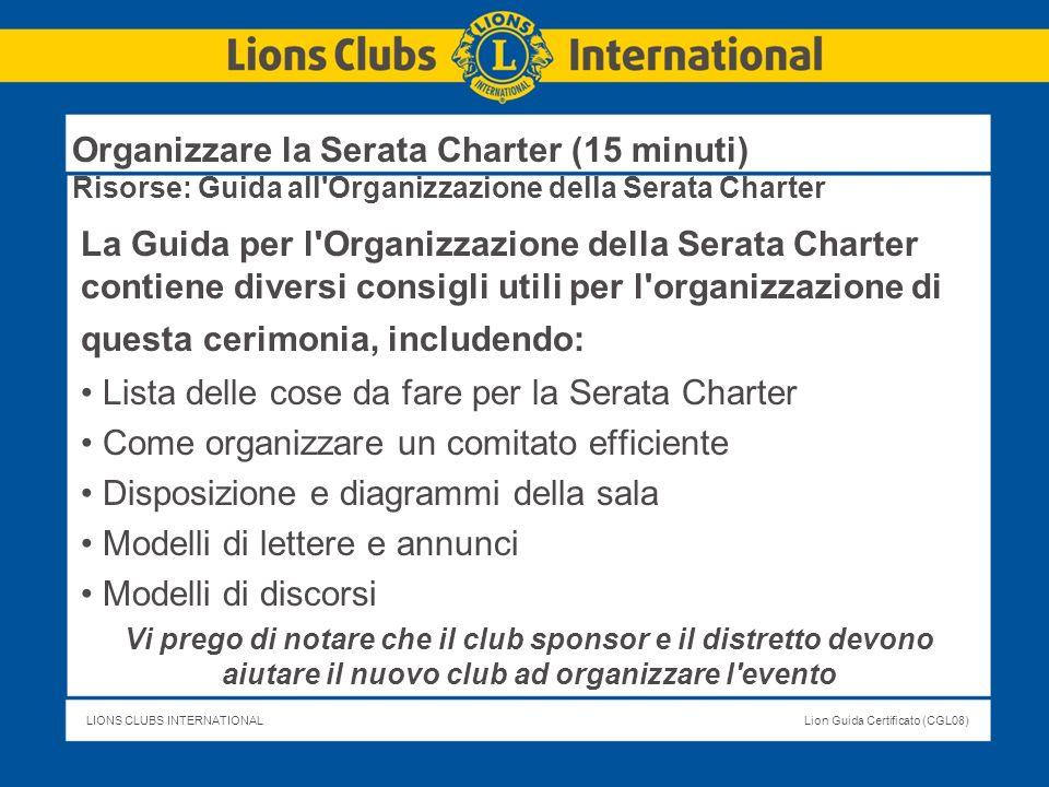 Lista delle cose da fare per la Serata Charter
