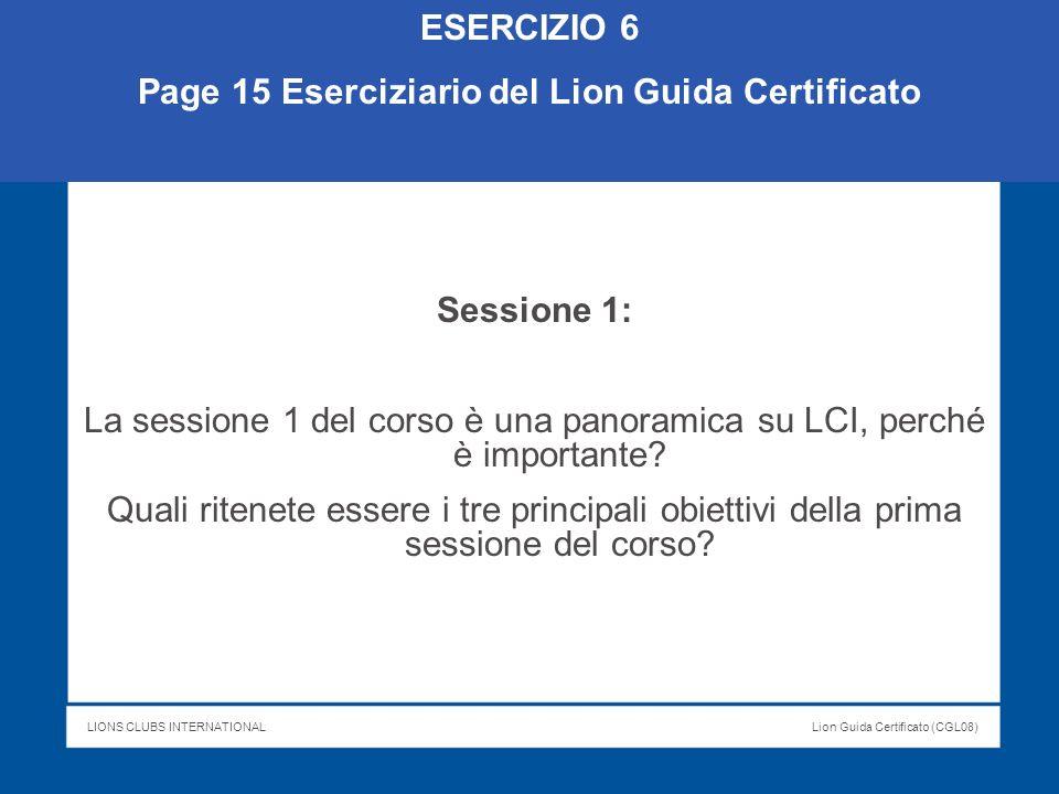 Page 15 Eserciziario del Lion Guida Certificato
