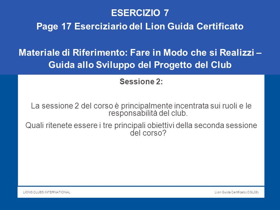 Page 17 Eserciziario del Lion Guida Certificato