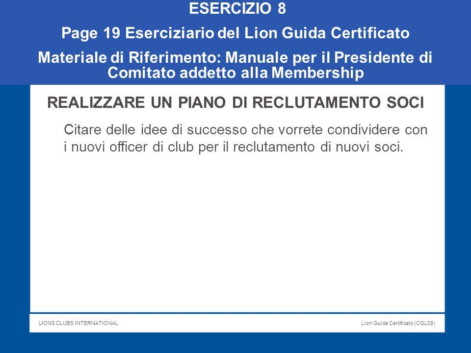 Page 19 Eserciziario del Lion Guida Certificato