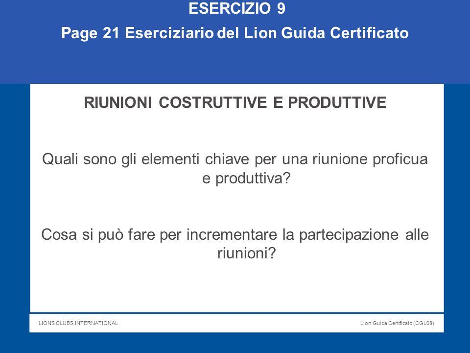 Page 21 Eserciziario del Lion Guida Certificato
