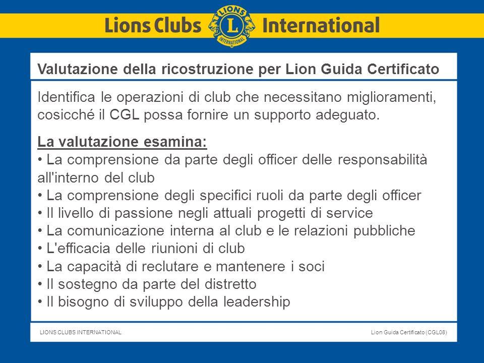 Valutazione della ricostruzione per Lion Guida Certificato