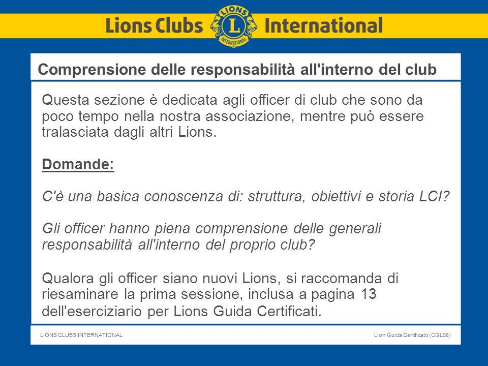 Comprensione delle responsabilità all interno del club