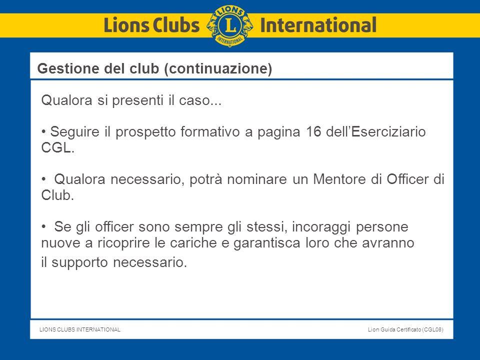Gestione del club (continuazione)