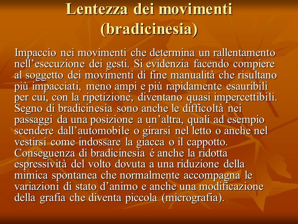 Lentezza dei movimenti (bradicinesia)
