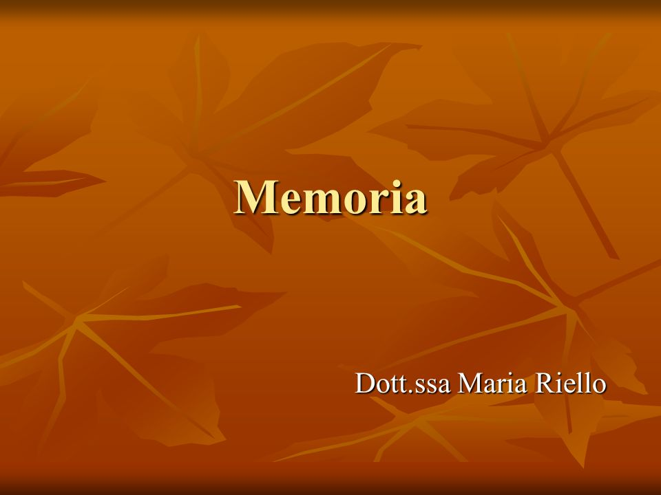 Memoria Dott.ssa Maria Riello