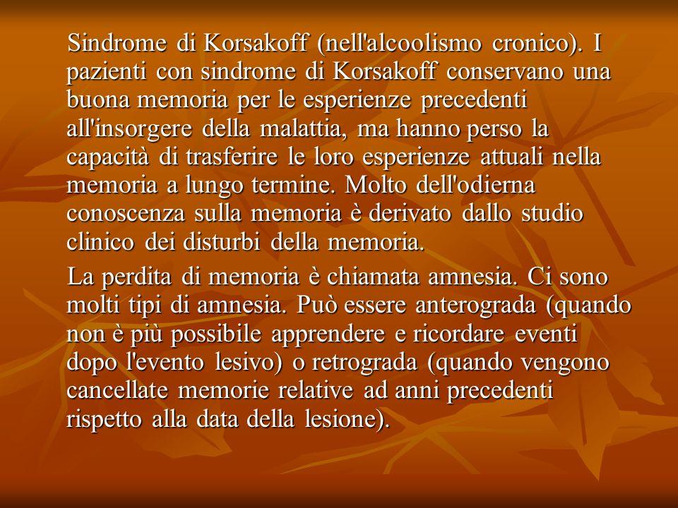 Sindrome di Korsakoff (nell alcoolismo cronico)