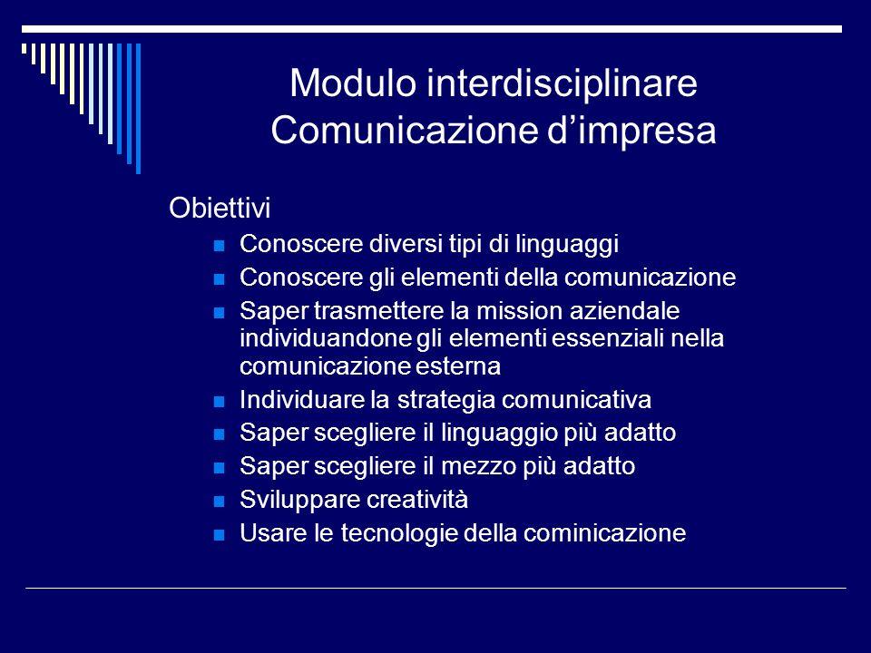 Modulo interdisciplinare Comunicazione d'impresa
