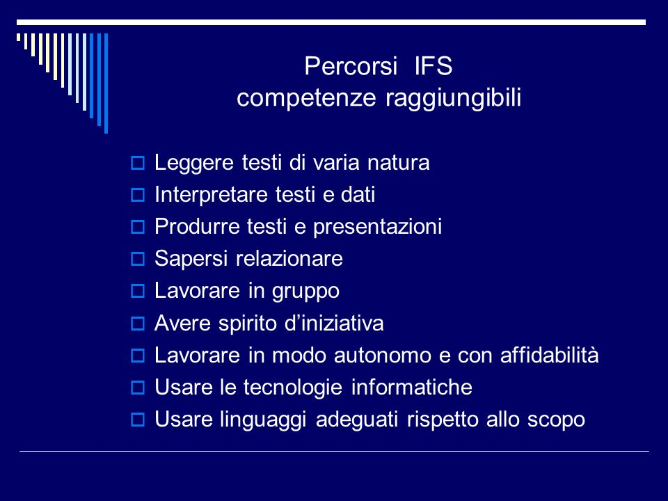 Percorsi IFS competenze raggiungibili