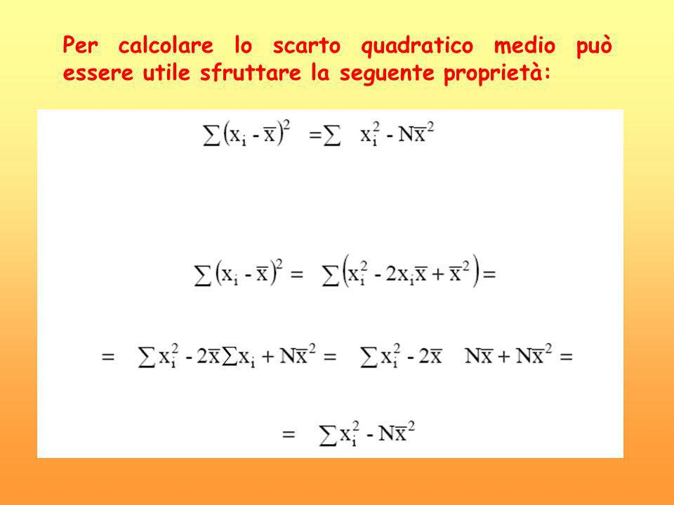 Per calcolare lo scarto quadratico medio può essere utile sfruttare la seguente proprietà: