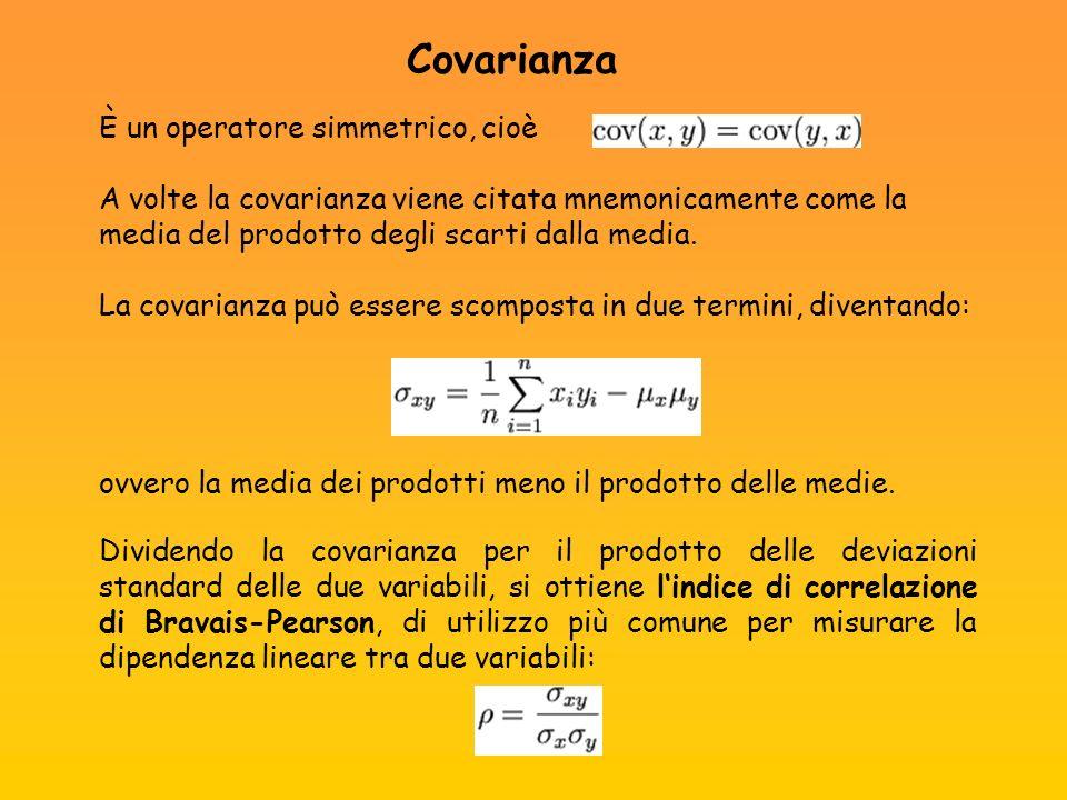 Covarianza È un operatore simmetrico, cioè