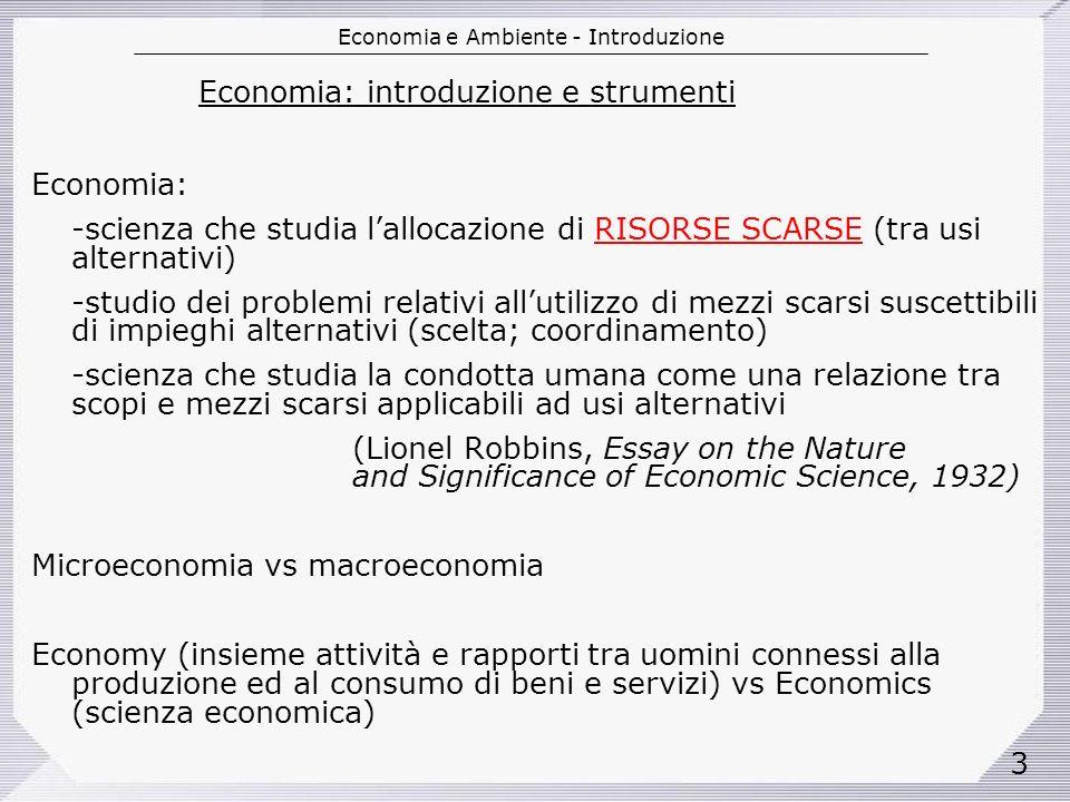 Economia: introduzione e strumenti
