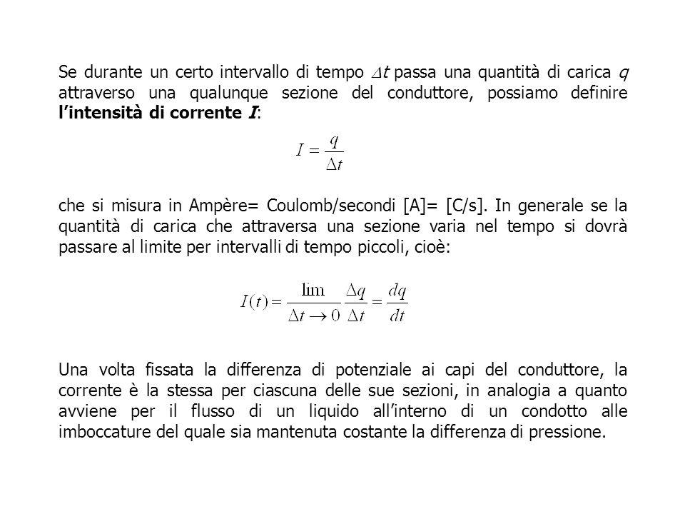Se durante un certo intervallo di tempo Dt passa una quantità di carica q attraverso una qualunque sezione del conduttore, possiamo definire l'intensità di corrente I: