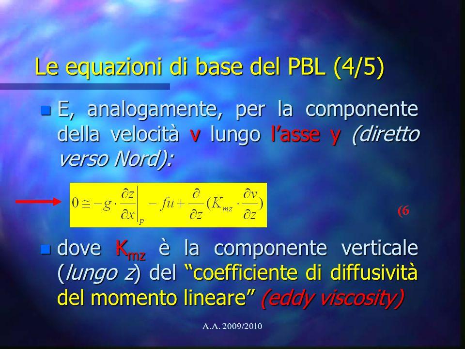 Le equazioni di base del PBL (4/5)