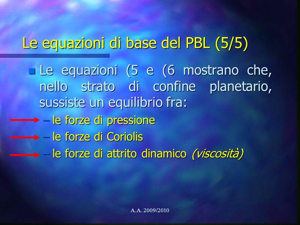 Le equazioni di base del PBL (5/5)